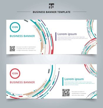 Set of banner web template modern style abstract with composition made of various motion lines curve rounded shapes colorful. Vector illustration