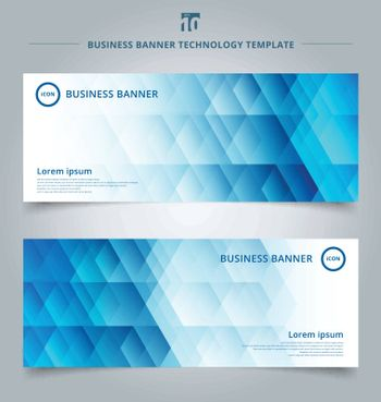 Set of template banner web geometric hexagon pattern blue background technology concept. Vector corporate design