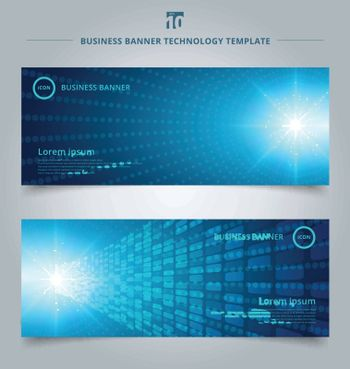 banner web template bstract technology concept with blue neon radial light burst effect blue dots pattern futuristic perspective background. Digital elements circles halftone. Vector illustration
