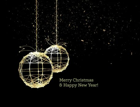 New Year's Christmas balls, on luminous golden ribbons, in the style of art deco. Geometric golden spheres, in the form of points connected by lines with glitters. Gold on dark style. Vector