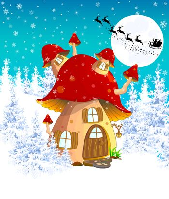 Cartoon mushroom house  on the background of winter snow-covered forest. Silhouette of Santa on a sleigh against the night sky and the moon.  Winter landscape with a mushroom house.