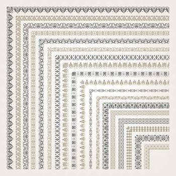 Big set of decorative seamless ornamental border with corner