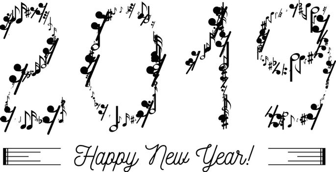 Musical notes in the form of numbers year 2019