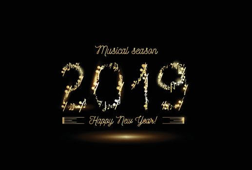 Golden musical notes in the form of numbers year 2019. Vector gold on black style