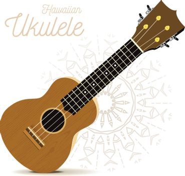 Ukulele - Hawaiian musical instrument. Vector illustration on white background