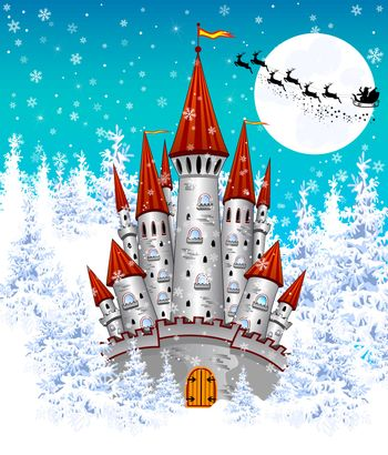 Cartoon  castle on the background of winter snow-covered forest. Silhouette of Santa on a sleigh against the night sky and the moon.  Winter landscape with a gray castle.