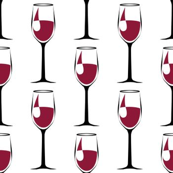 seamless pattern with black wineglass with wine. vector