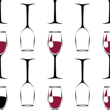 seamless pattern with black wineglass with wine and empty wineglass. vector