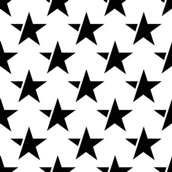 white seamless pattern with black star. vector