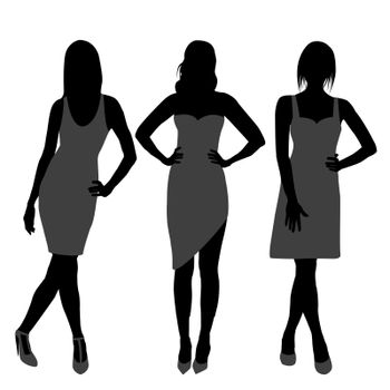 Silhouette of three fashion girls top models
