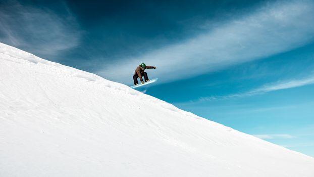 Active man on snowboard