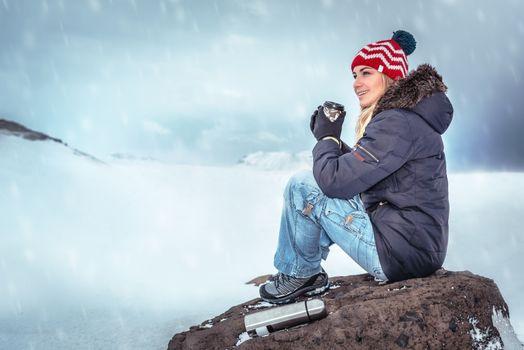 Traveler woman enjoying winter holidays