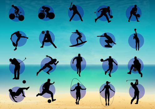 Illustration represents pictogram of varied sports, several games. Ideal for sports and institutional materials