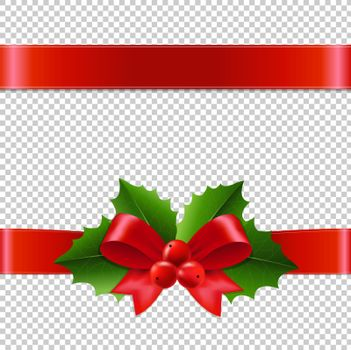Holly Berry Ribbon Transparent Background
