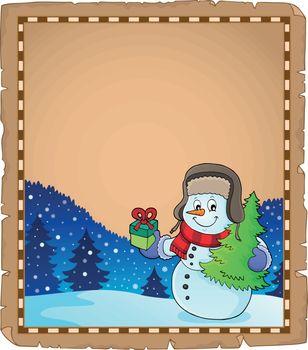 Christmas snowman subject parchment 4