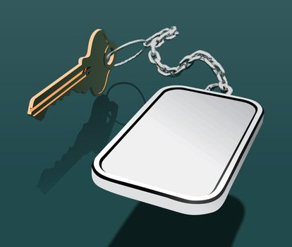 Key with keychain on a chain, with a place for your logo. Mock up vector illustration
