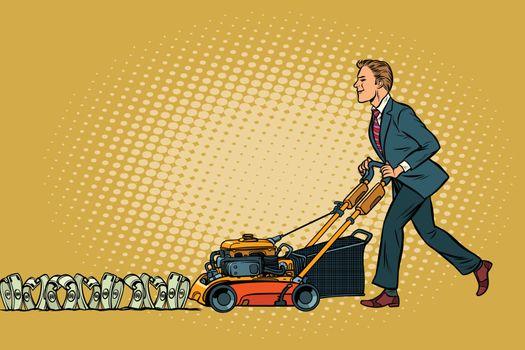 Businessman cuts money like a lawnmower man. Wealth and financia