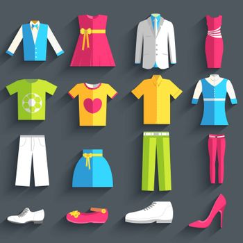 collection style fashion clothing for people icon set background concept. Vector template for web and mobile design.
