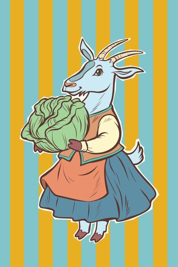 goat with cabbage. fairytale character