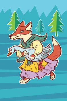 fox steals goose bird. fairytale character.