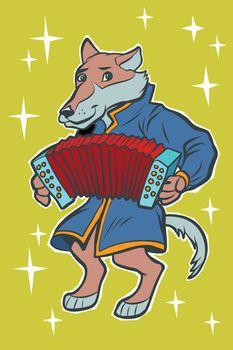 Wolf plays accordion harmonica. fairytale character