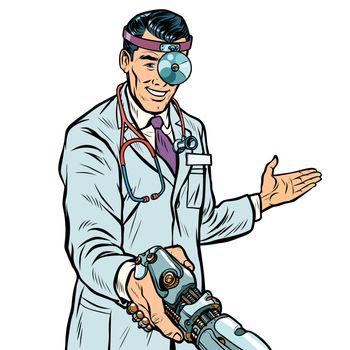 doctor surgeon handshake. robot prosthesis