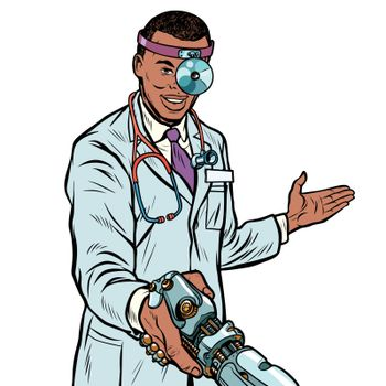 african doctor surgeon handshake. robot prosthesis