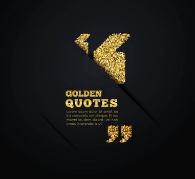 Golden quote blank template on dark background. Vector illustration