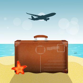 illustration of postcard for travel