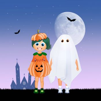 illustration of children with Halloween costume