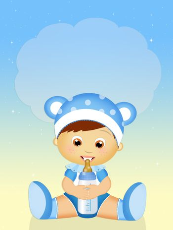 cute illustration of baby with baby bottle