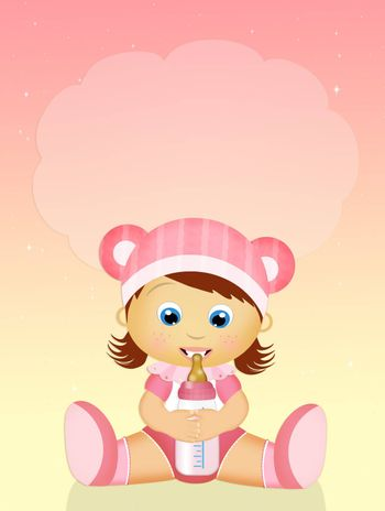 illustration of baby girl with baby bottle