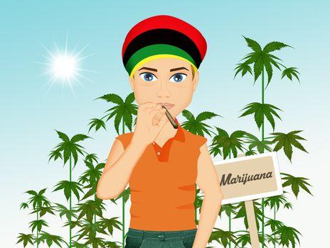 man grows marijuana