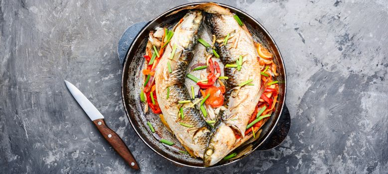 Appetizing baked fish