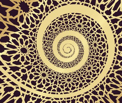 Islamic pattern, swirled in 3d spiral shape. Vector illustration