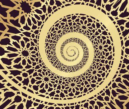 Islamic pattern, swirled in 3d spiral shape