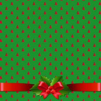 Christmas Background With Holly Berry Bow