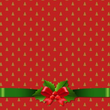 Red Christmas Background With Holly Berry Bow