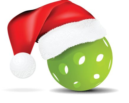 Green pickleball vector illustration with santa hat isolated on white background
