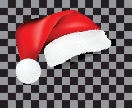 Realistic Santa Claus hat with shadow, template. Vector illustra