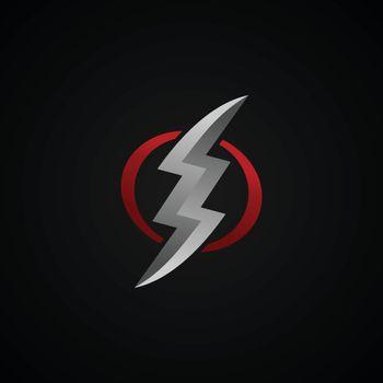 red silver lightning bolt thunder sign