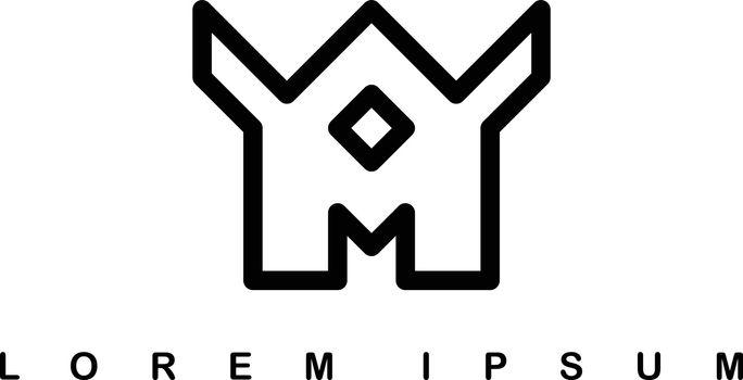 overlap line letter a art template logo logotype