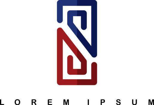 overlap line art template logo logotype alphabet letter s