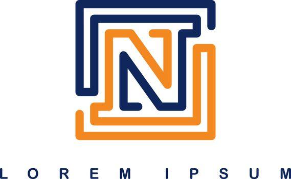overlap line art template logo logotype alphabet letter n