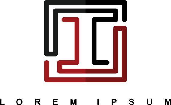 overlap line art template logo logotype alphabet letter i