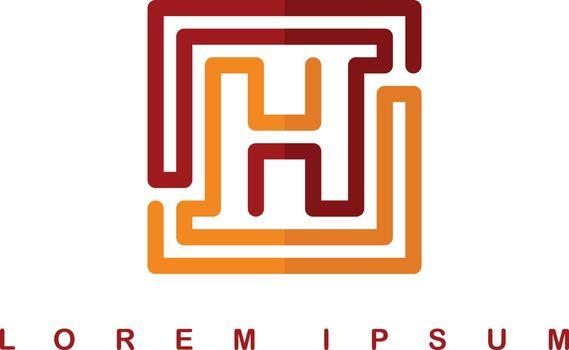 overlap line art template logo logotype alphabet letter h