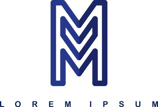 overlap line art template logo logotype alphabet letter m