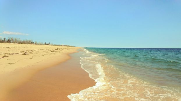 Soft wave of blue ocean on East Beach Rhode Island USA