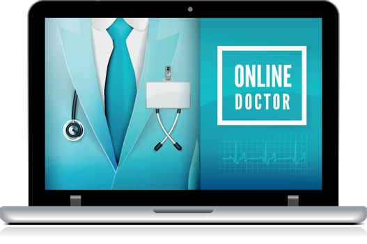 Online doctor consultation technology in laptop. Medical doctor in suit with stethoscope close up. Vector illustration on white