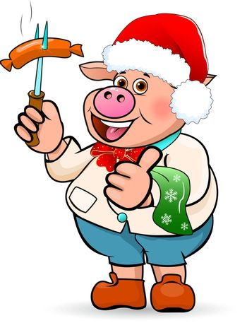 Cartoon pig in a hat Santa Claus holding a sausage barbecue in his hand.